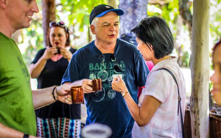 Guests drinking fresh brewed coffee in plantation, Puerto Plata