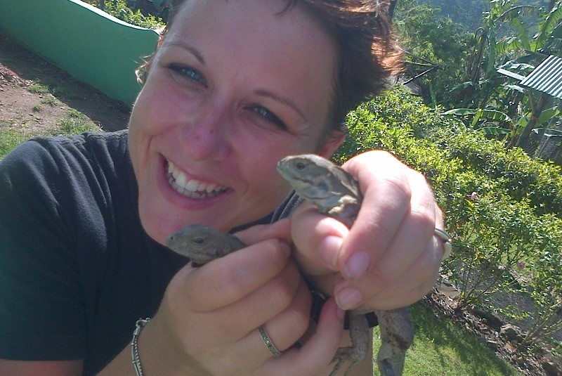 Ranch staff with new baby iguanas, Punta Cana, Dominican Republic