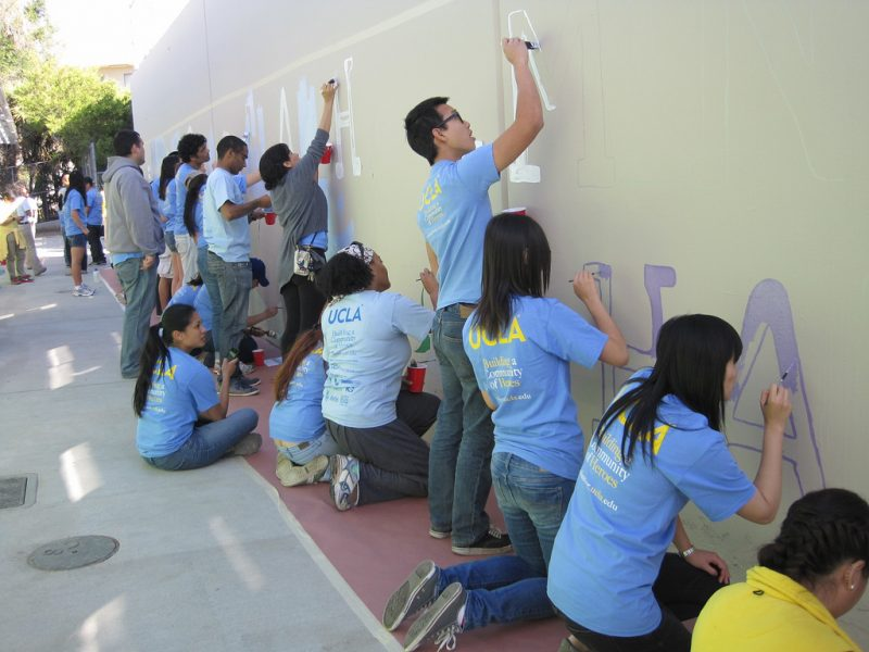 people painting school mural in Cruce Isleño