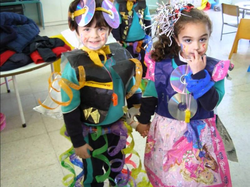 kids with recycled clothing modeling
