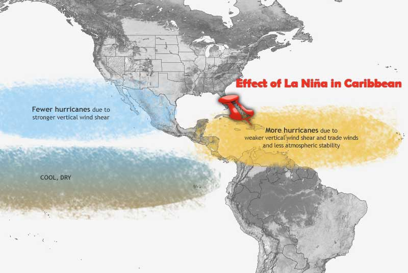 map with graphic of la niña effect on Dominican Republic