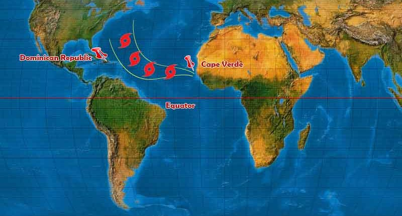 World map with Hurricane path towards Caribbean-Outback Adventures