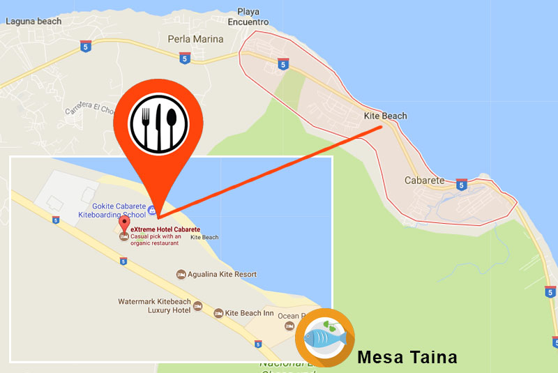 map to find Casa Taina in Cabarete- great seafood resturant rated by Outback Adventures Puerto Plata