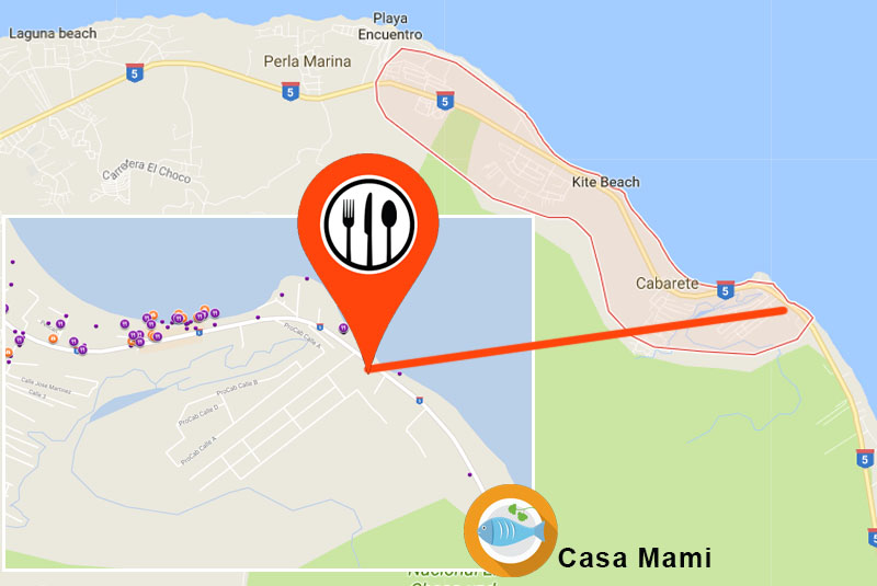 Map to find restaurant Casa de Mama in Cabarate- recommended by Outback Safari Cabarete