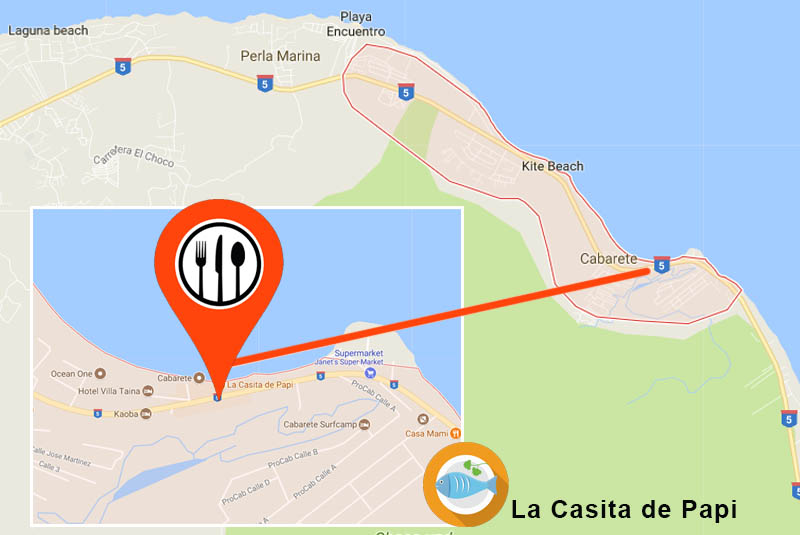 Map how to find restaurant Casita de Papi in Cabarete- Outback Adventures Dominican Republic