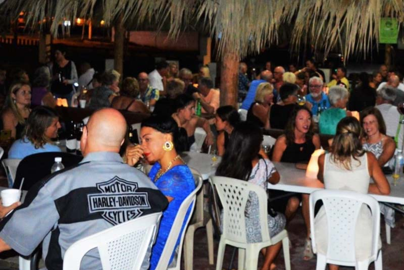 people eating at restaurant Los Nativo's Cafe at night-Cabarete- Dominican Republic