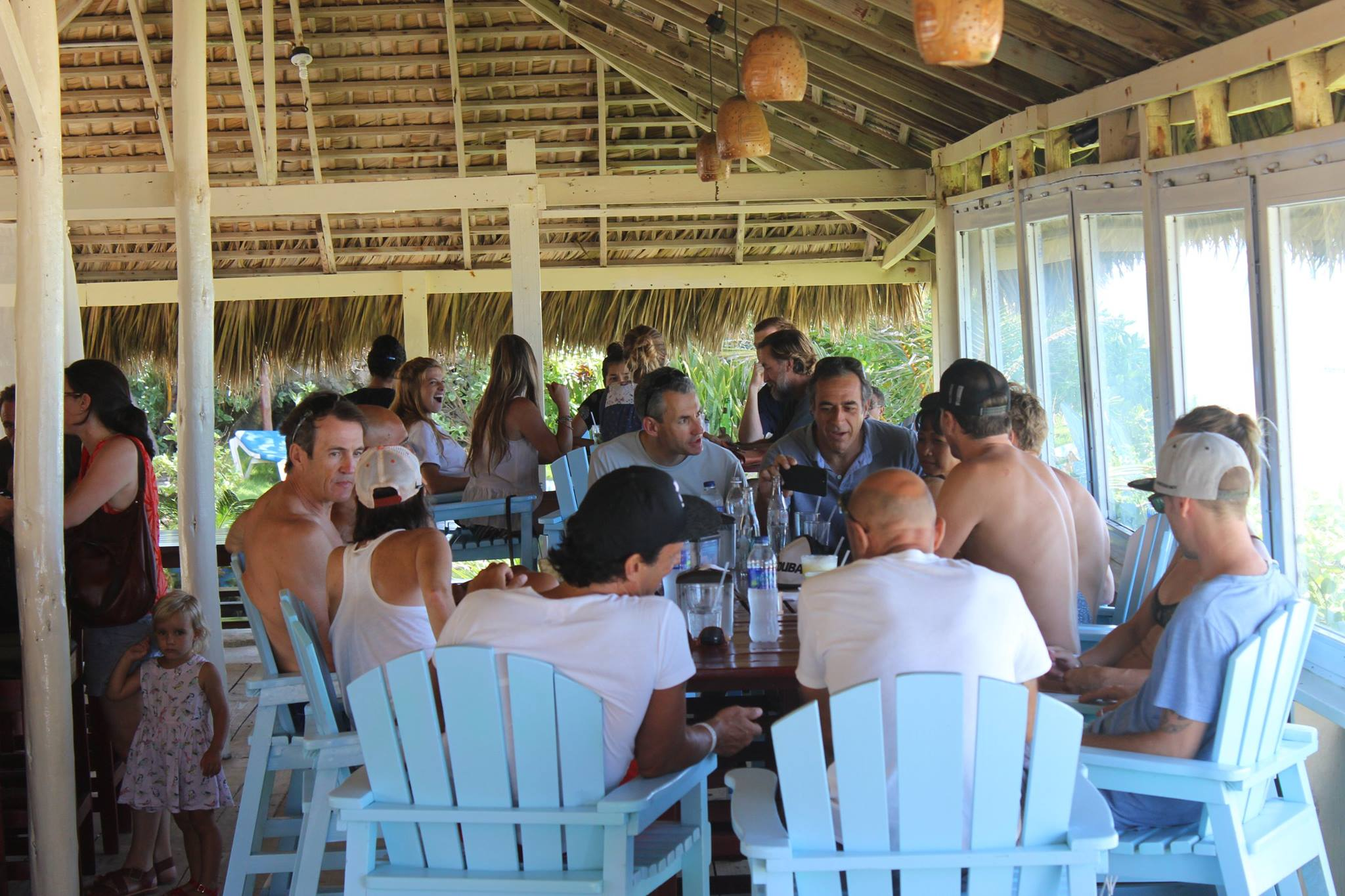 locals at seafood restaurant in Cabarete- Dominican Republic