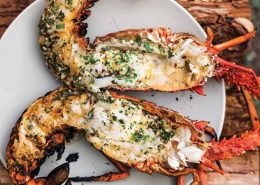 grilled lobster served in restaurant in Cabarete- Dominican Republic