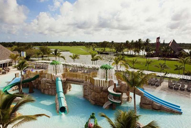 aerial viw at hotel pool at Barcelo Hotels in Punta Cana - Dominican Republic