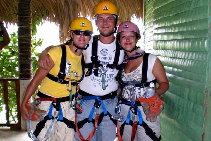 family equipped for zip lining in Punta Cana - Dominican Republic