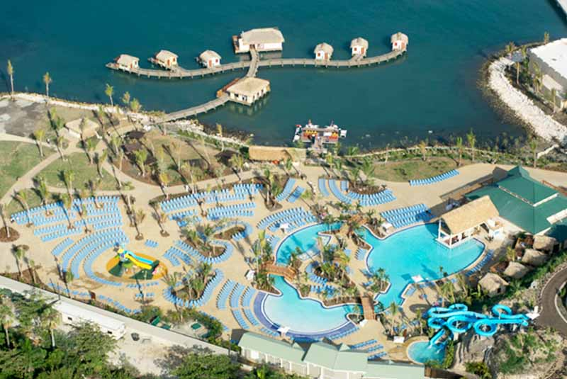Aerial view of Amber Coves Pool and lounger area in Puerto Plata - Dominican Republic