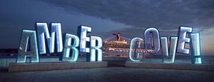 lit up Amber Cove sign in Puerto Plata Cruise ship port