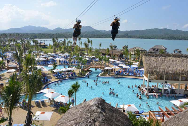 Zip Lining Over Pool Area At Amber Cove Puerto Plata