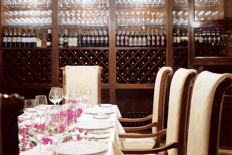 restaurant with wine shelves in Excellence Punta Cana hotel - Dominican Republic