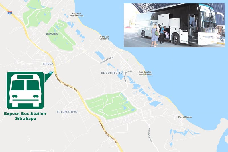 map to find local bus station for express transportation to Santo Domingo - Dominican Republic