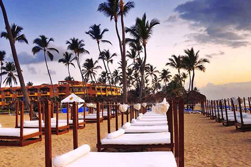 hotels beach area with sunbeds in Punta Cana Princess hotel - Dominican Republic