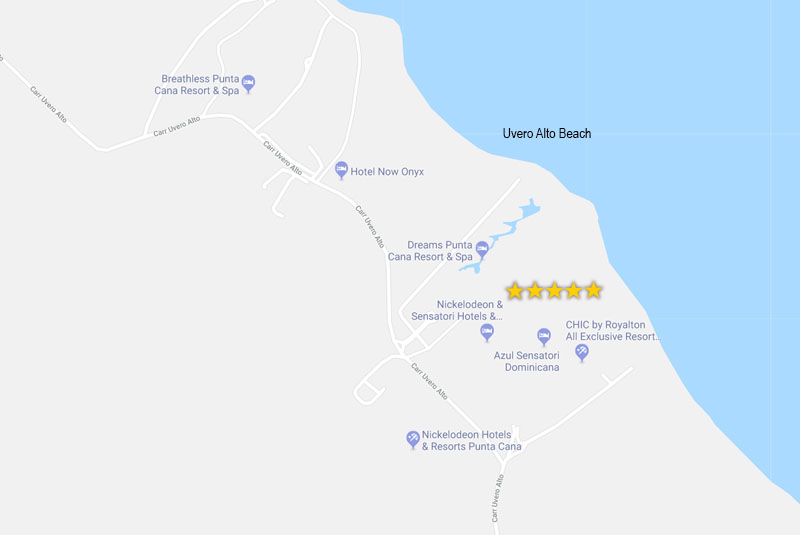map of hotels in Punta Cana- Sensatori in Uvero Alto - Dominican Republic