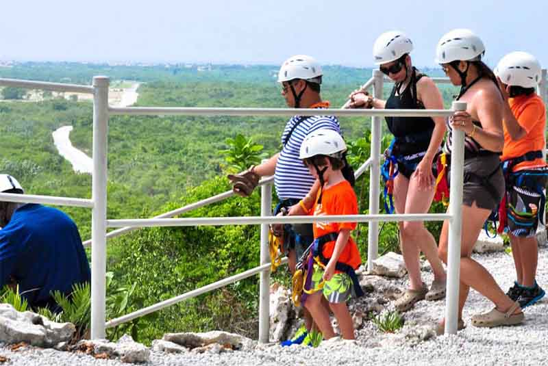 group ziplining on cliff in Cap Cana- Dominican Republic