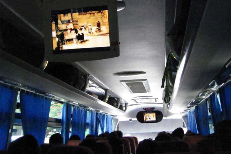inside local bus in Punta Cana - Dominican Republic