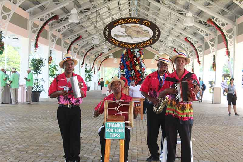 Dominican Music group welcoming cruise guests in Amber Cove - Puerto Plata