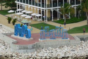 Amber Cove sign to see from cruise ship when entering cruise port in Puerto Plata - Dominican Republic