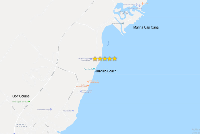Map to find Secrets Cap Cana hotel in Dominican Republic