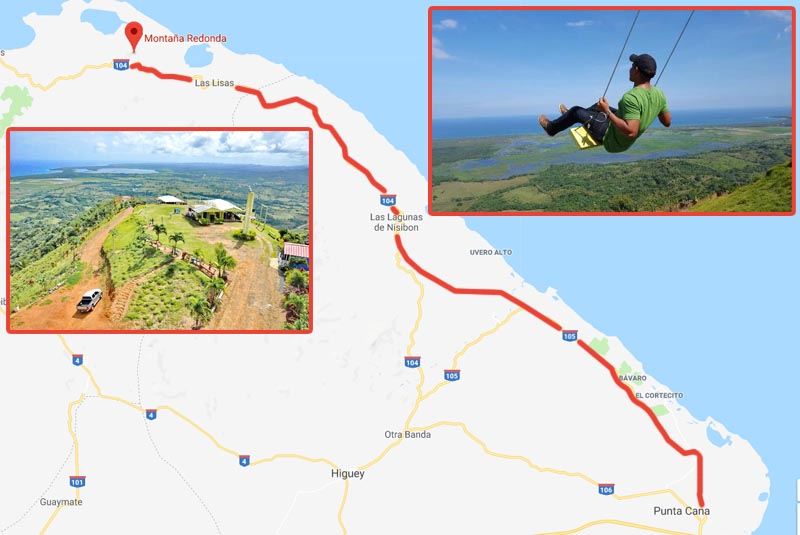 map with instructtion to get from Punta Cana to Montaña Redonda - Dominican Republic