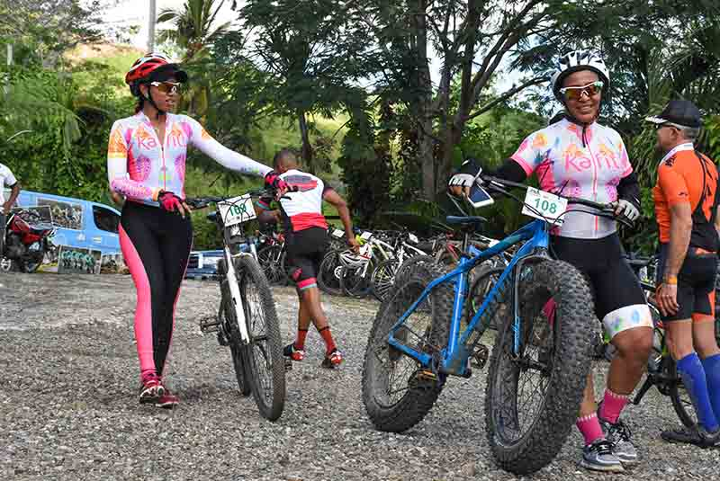 woman with electrial mountainbikes on ranch in Punta Cana - Dominican Republic