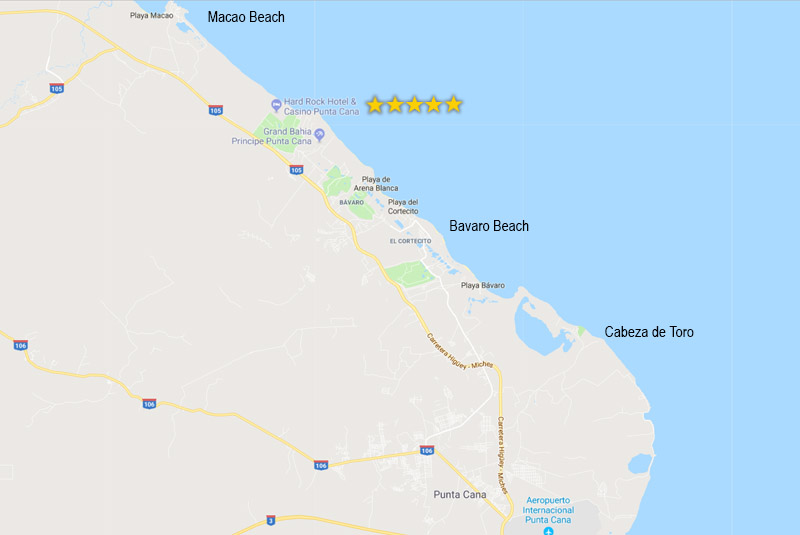 map to find Hard Rock Hotel Punta Cana - Dominican Republic