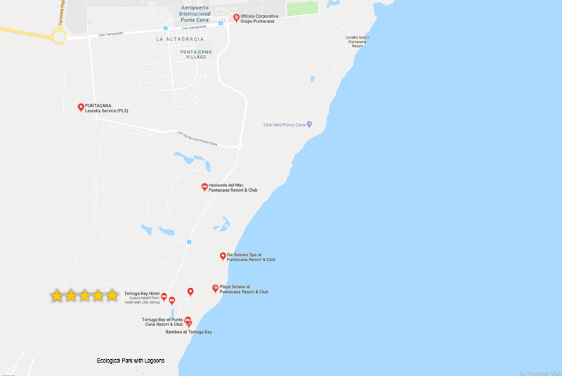 Map to find Tortuga Bay Hotel in Cap Cana - Dominican Republic