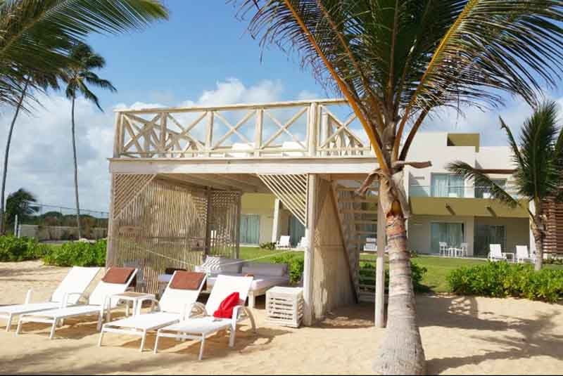 Beach beds and loungers at Now Onix hotel in Punta Cana - Dominican Republic