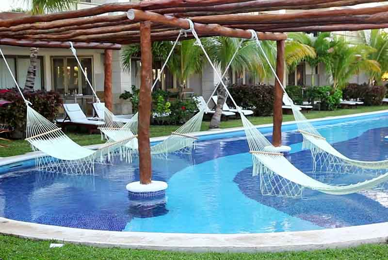 hammock at pool area in Excellence hotel in Punta Cana