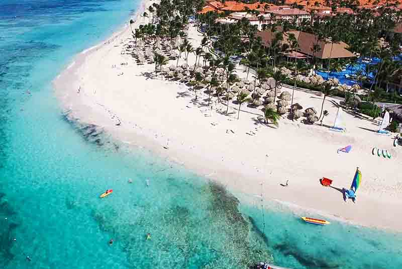 aerial view from beach in front of Majestic hotels in Punta Cana - Dominican Republic