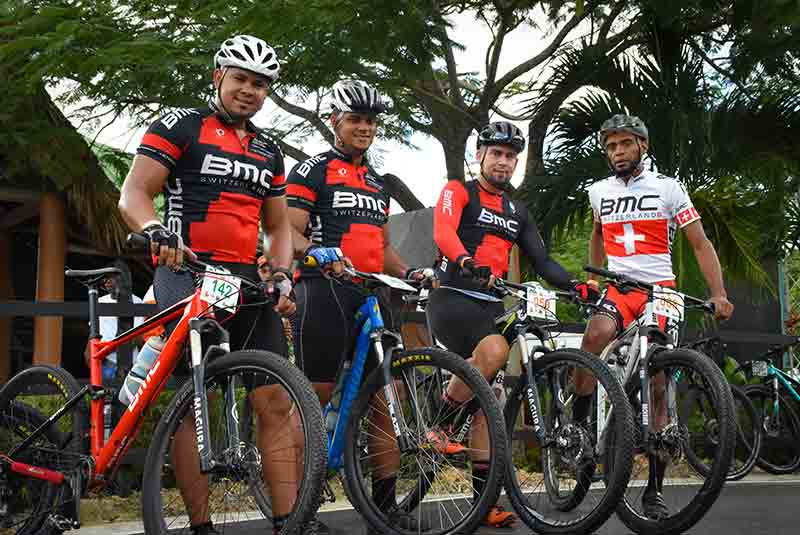 Mountain bike team on ranch of Outback Adventures in Punta Cana