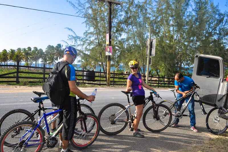 group getting ready to mountain bike in Macao - Dominican Republic