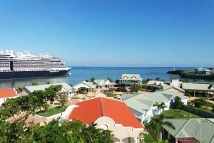 over view from sky bar at Amber Cove with cCarnival cruise ship in Puerto Plata port