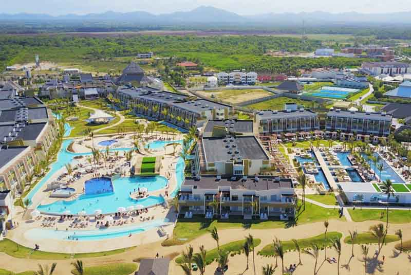 aerial shot from beach front hotel Now Onix in Punta Cana - Dominican Republic