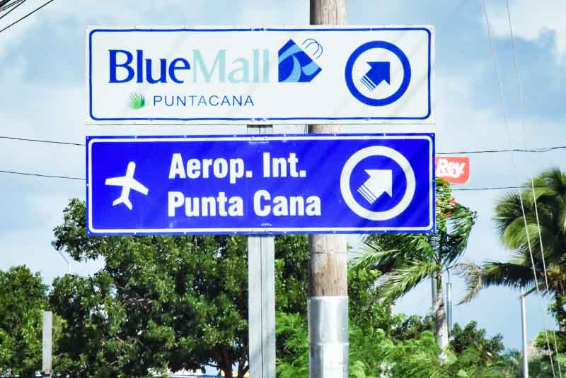 streets signs to local shopping mall in Punta Cana - Dominican Republic
