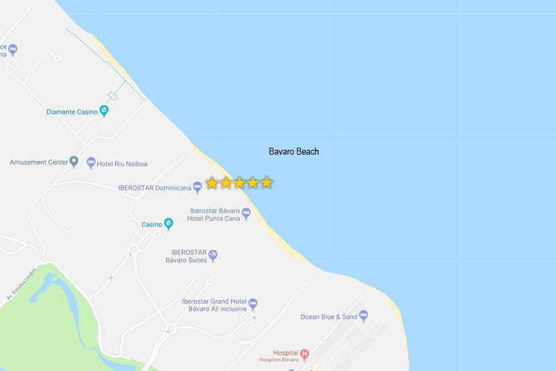 map to find kids friendly hotels in Punta cana - Iberosdtar Dominicanas in Bavaro