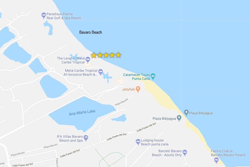 map of hotels in Bavaro - Melia Caribe hotel - Dominican Republic
