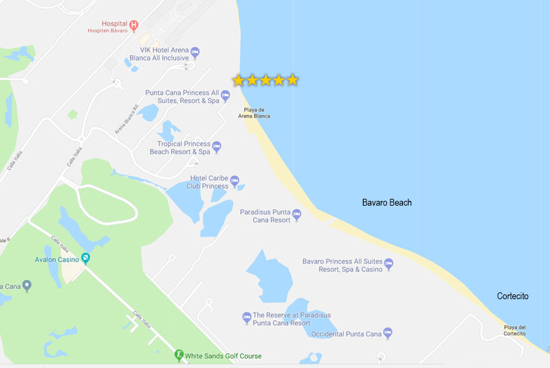 map of hotels in Bavaro - Punta Cana Princess hotel