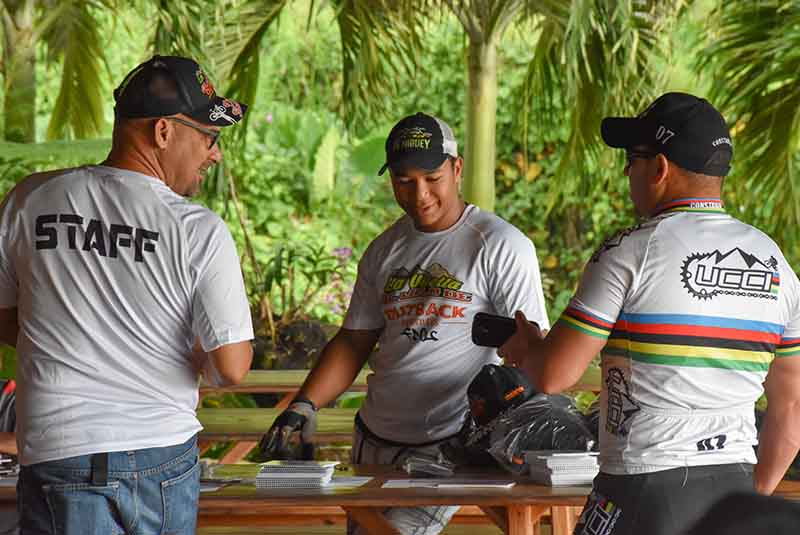 mountain bikers signing in for competition in Anamuya - Dominican Republic