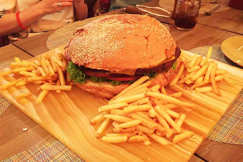 burger and fries plate served at Nickelodeon restaurant in Punta Cana