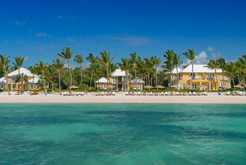 view of beach front hotel of Tortuga Bay in Punta Cana