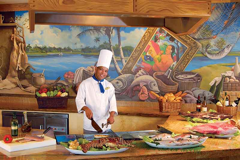 chef at seafood restaurant in Dreams Punta Cana hotel in Dominican Republic