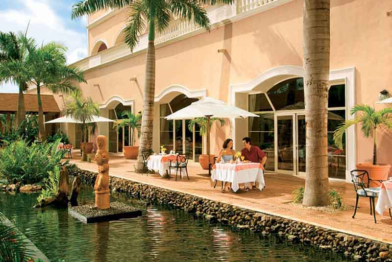 cafe and garden area in Dreams Punta Cana hotel in Dominican Republic