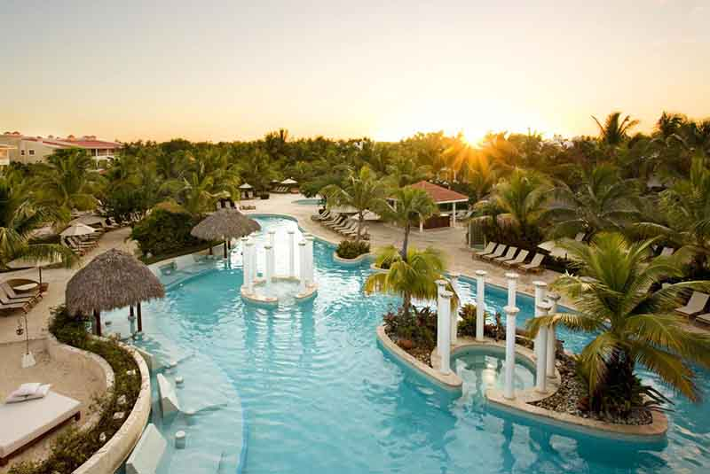 pool view with sunset at Level in Melia Caribe hotel - Punta Cana
