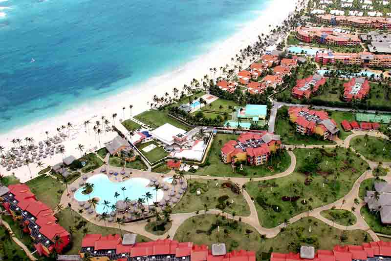 aerial viw at pool and beach front of Punta Cana Princess hotel