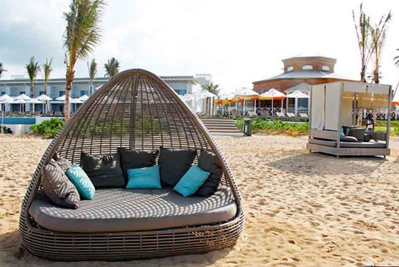 loungers and sunbeds at Sensatori Punta Cana beach in Uvero Alto - Dominican Republic