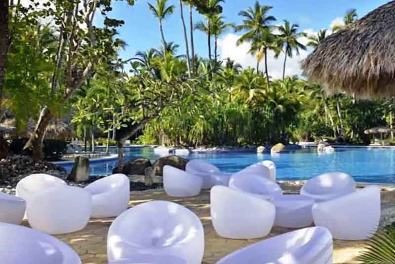 lounge area at the pool in Paradisus Punta Cana hotel in Bavaro - Dominican Republic